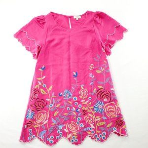 Umgee Embroidered Dress Pink Floral Casual